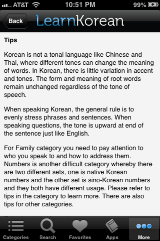 Learn Korean app tips